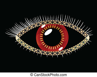 geometric eye, abstract vector art illustration; image...