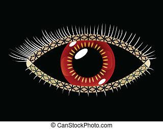 geometric eye, abstract vector art illustration; image...