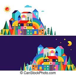 Geometric fairy tale kingdom, knight castle. Children room, class wall decoration