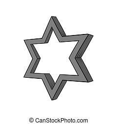 Geometric figure star icon, black monochrome style