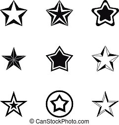 Geometric figure star icons set, simple style