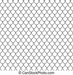 Geometric fish scales chinese seamless pattern. Wavy roof tile background for design. Vector