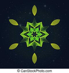 Geometric Flamy Hexagonal Symbol on Starry Sky.
