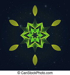 Geometric Flamy Hexagonal Symbol on Starry Sky.