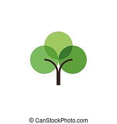 geometric flat green tree logo icon element