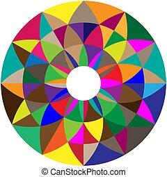 Geometric flower shape with alternating petals. Radial, radiating circular lotus shape vector illustration