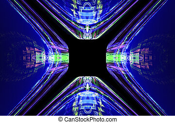 Geometric fractal shape can illustrate daydreaming imagination psychedelic space dreams magic nuclear explosion frequency patterns radiation concepts.