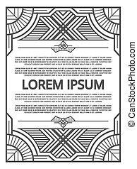 Geometric frame design - art deco poster template