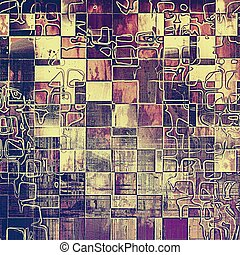 Geometric glamour vintage frame, decorative grunge background. Aged texture with different color patterns: yellow (beige); brown; gray; purple (violet); pink