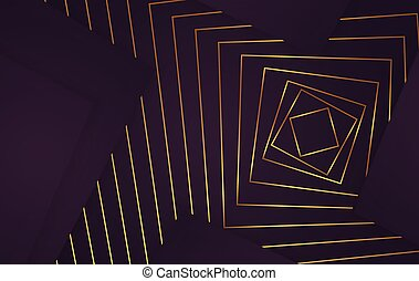 Geometric gold design lines and cubes abstract elements at purple background vector illustration