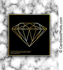 Geometric  gold diamond shape with marble background texture des