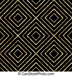 Geometric gold glitter seamless pattern of diagonal lines