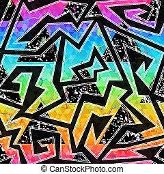 Geometric graffiti seamless pattern with grunge effect