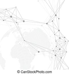 Geometric graphic background communication. Big data complex with planet. Particle compounds. Global network connection and lines plexus. Minimalistic chaotic design, vector illustration.