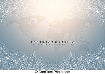 Geometric graphic background communication with dotted World Map. Big data complex. Particle compounds. Network connection, lines plexus. Minimalistic chaotic design, vector illustration.