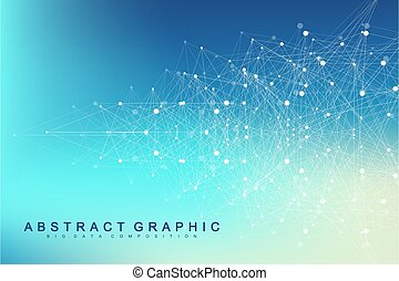 Geometric graphic background molecule and communication. Big...