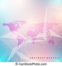 Geometric graphic background communication. Big data complex with Political World Map. Particle compounds. Network connection, lines plexus. Minimalistic chaotic design, vector illustration.