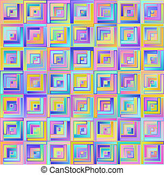 Geometric Graphical Abstract Pastel Seamless Pattern of Gradient Squares of Blue, Lilac, Pink, Violet, Yellow