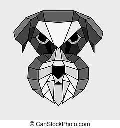 Geometric grey Schnauzer - Geometric grey, black and white...