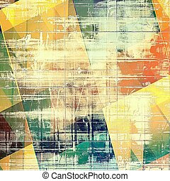 Geometric grunge texture, decorative vintage background. With different color patterns: yellow (beige); brown; green; blue; red (orange)