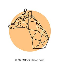 Geometric head of a giraffe.