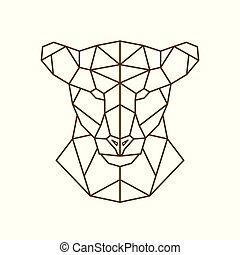 Geometric head of a lioness.