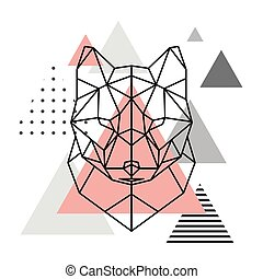 Geometric head of a wolf on a Scandinavian background.