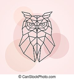 Geometric head of an owl.