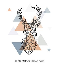 Geometric head of the Scandinavian deer.