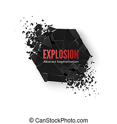 Geometric hexagon banner with space for text. Geometric background. Abstract explosion of black hexagon shape. Vector illustration isolated on white