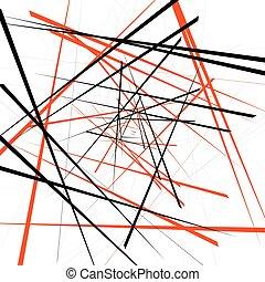 Geometric illustration with random intersecting lines....