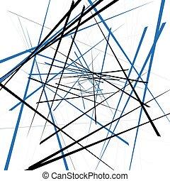 Geometric illustration with random intersecting lines. Editable abstract art.