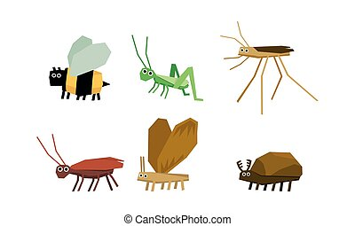 Geometric insects set, bee, grasshopper, mosquito, ant, bug vector Illustration on a white background