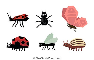 4d757d269 Geometric insects set, spider, bug, ladybug, colorado potato beetle, fly,