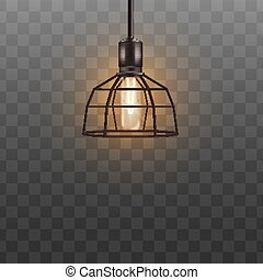 Geometric lamp shade with electric lightbulb, black modern metal lampshade hanging from ceiling.