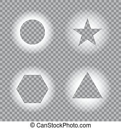 Geometric light effects on transparent background. Light frames, template. Vector illustration for your design.