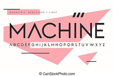 Geometric light weight san serif, alphabet, uppercase ...