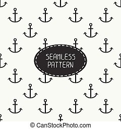 Geometric line monochrome vector seamless retro pattern with hipster anchor. Wrapping paper. Scrapbook paper. Tiling. For wallpaper, background. Stylish texture for your design.