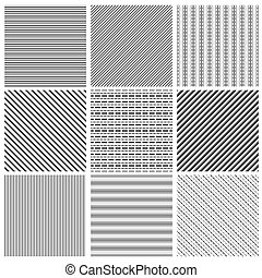 Geometric line pattern set. Parallel streep black diagonal lines patterns vector illustration