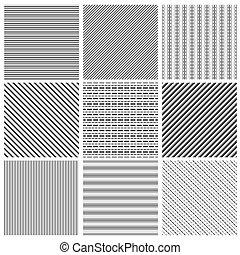 Geometric line pattern set. Parallel streep black diagonal lines patterns vector illustration