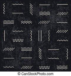 Geometric lines seamless pattern on dark textured background. Retro monochrome style. Textured layers easy editable