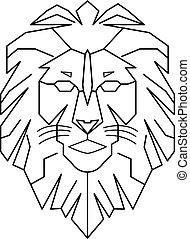 geometric lion logo king walking line art outline vector download