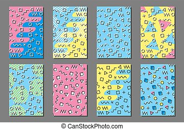 9e9442c4983fc8 Phone case mockup. memphis pattern background. gradients geometric ...