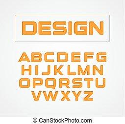 Geometric minimalist technological design font. Alphabet symbols, vector collection. Orange stylized letter set.