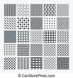 Geometric monochrome pattern set - Set of diverse geometric...
