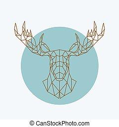 Geometric moose head.