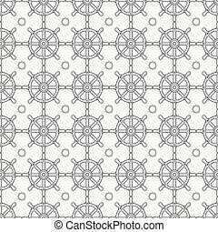 Geometric nautical seamless background pattern with steering wheel. Vector illustration texture for design, wallpaper. Line pattern. Wrapping paper. Scrapbook. Tiling. Graphic texture.