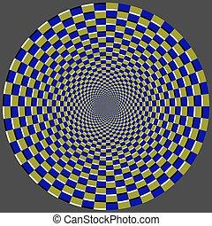Geometric optical illusion. Color bricks circle pattern