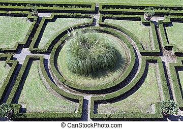 geometric green ornamental garden wiew from above