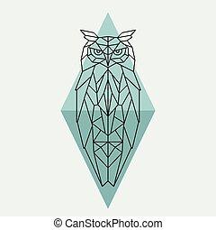 Geometric owl. Wild animal.